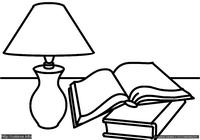Книги - скачать и распечатать раскраску. Раскраска Простая бытовая раскраска для малышей, раскраска лампа, книги