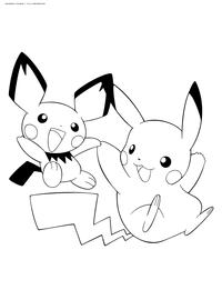 Милые покемоны - скачать и распечатать раскраску. Раскраска Пикачу