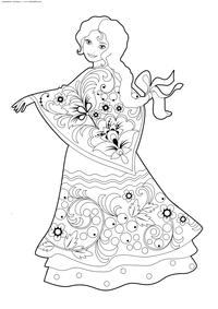 Русская красавица - скачать и распечатать раскраску. Раскраска хохлома, девушка, красавица