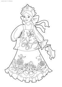 Девушка в русском наряде - скачать и распечатать раскраску. Раскраска девушка, красавица
