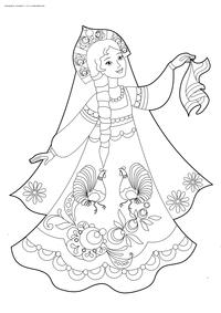 Русская красавица - скачать и распечатать раскраску. Раскраска девушка, красавица