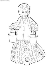 Русская красавица - скачать и распечатать раскраску. Раскраска девушка, красавица, коромысло