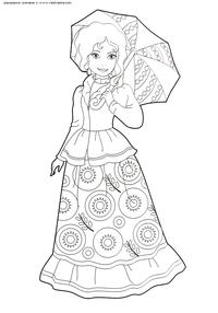 Красавица с зонтиком - скачать и распечатать раскраску. Раскраска красавица, девушка