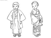 Японские дети - скачать и распечатать раскраску. Раскраска япония, традиции