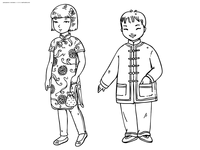 Китайские дети - скачать и распечатать раскраску. китай, традиции