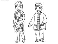 Китайские дети - скачать и распечатать раскраску. Раскраска китай, традиции