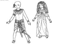 Дети Древнего Египта - скачать и распечатать раскраску. Раскраска египет