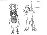 Английские дети - скачать и распечатать раскраску. Раскраска англия
