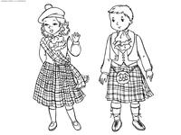 Шотландские дети - скачать и распечатать раскраску. Раскраска шотландия