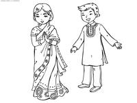 Индийские дети - скачать и распечатать раскраску. Раскраска индия