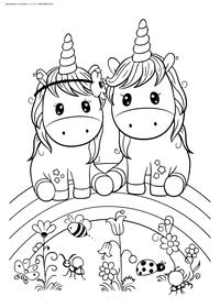 Единороги на радуге - скачать и распечатать раскраску. Раскраска единорог, радуга