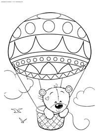 Медвежонок на воздушном шаре - скачать и распечатать раскраску. Раскраска мишка. медвежонок, воздушный шар