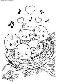 Птенчики в гнезде - скачать и распечатать раскраску. Раскраска птенцы, гнездо