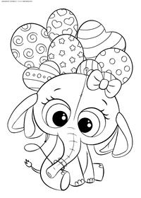 Слоненок с шариками - скачать и распечатать раскраску. Раскраска слон, слоненок