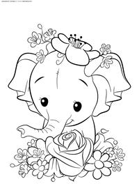 Слоненок - скачать и распечатать раскраску. Раскраска слоненок, слон