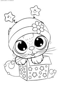 Котик в коробке - скачать и распечатать раскраску. Раскраска котенок, подарок