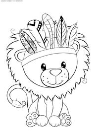 Львенок - скачать и распечатать раскраску. Раскраска лев, львенок