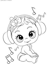 Малыш слушает музыку - скачать и распечатать раскраску. Раскраска ребенок, малыш, наушники