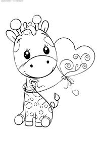 Жирафик - скачать и распечатать раскраску. Раскраска жираф, жирафенок