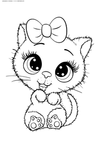 Милая кошечка - скачать и распечатать раскраску. Раскраска кошка, котенок