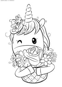 Единорожка с цветами - скачать и распечатать раскраску. Раскраска единорог, подарок