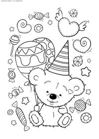 Медвежонок на празднике - скачать и распечатать раскраску. Раскраска мишка, медвежонок