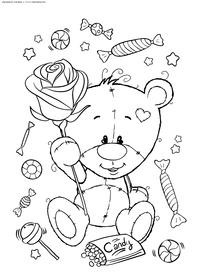 Медвежонок с розой - скачать и распечатать раскраску. Раскраска роза,медвежонок, подарки