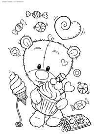 Мишка со сладостями - скачать и распечатать раскраску. Раскраска мишка, медвежонок, конфеты