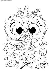Совенок с конфетами - скачать и распечатать раскраску. Раскраска сова, совенок, конфеты