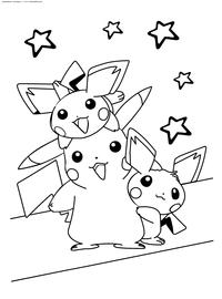 Покемоны и Пикачу - скачать и распечатать раскраску. Раскраска