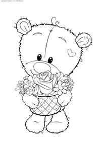 Медвежонок с цветами - скачать и распечатать раскраску. Раскраска медвежок
