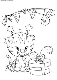 Тигренок с подарком - скачать и распечатать раскраску. Раскраска тигр, тигренок, подарок