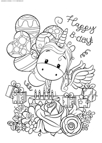 Счастливый день рождения - скачать и распечатать раскраску. Раскраска единорог, праздник