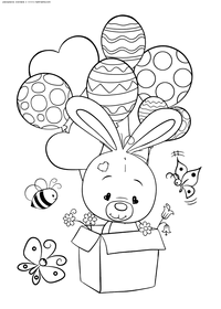 Зайчонок с воздушными шарами - скачать и распечатать раскраску. Раскраска зайчонок, воздушный шар