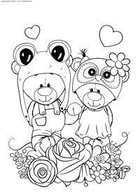 Медвежата - скачать и распечатать раскраску. Раскраска медвежонок