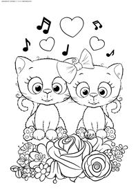 Котята - скачать и распечатать раскраску. котики, котята