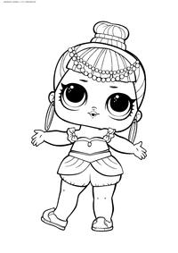 ЛОЛ серия 2 куколка Джинн - скачать и распечатать раскраску. Раскраска лол