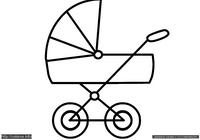 Коляска - скачать и распечатать раскраску. Раскраска Раскраска коляска для малышей, разукрашкая для малышей, коляска для ребенка раскраска