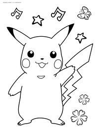 Покемон Пикачу - скачать и распечатать раскраску. Раскраска