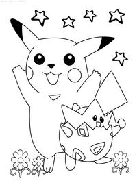 Покемоны - скачать и распечатать раскраску. Раскраска Пикачу