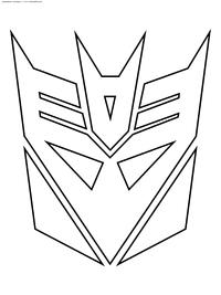 Символ десептиконов - скачать и распечатать раскраску. Раскраска десептикон