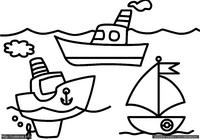 Кораблики - скачать и распечатать раскраску. Раскраска Простая раскраска корабли, раскраска для малышей кораблики