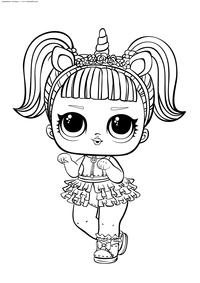 ЛОЛ Unicorn конфетти поп (Единорожка) - скачать и распечатать раскраску. Раскраска лол
