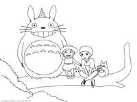 Тоторо и дети - скачать и распечатать раскраску. Раскраска