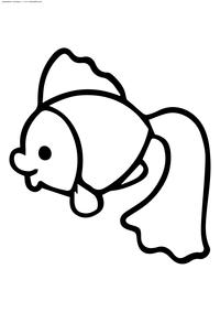 Золотая рыбка - скачать и распечатать раскраску. Раскраска рыбка