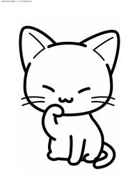 Котенок - скачать и распечатать раскраску. Раскраска котенок, кот, кошка