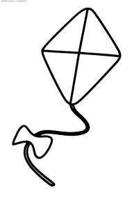 Воздушный змей - скачать и распечатать раскраску. Раскраска воздушный змей