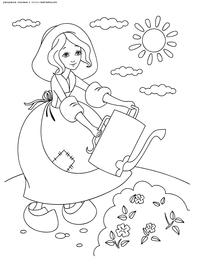 Золушка поливает цветы - скачать и распечатать раскраску. Раскраска Золушка работает в саду, Золушка с лейкой раскраска