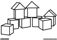 Кубики - скачать и распечатать раскраску. Раскраска Раскраска для малышей кубики, простая раскраска для ребенка, скачать и распечатать раскраску
