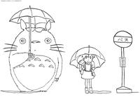 Тоторо и Сацуки - скачать и распечатать раскраску. Раскраска
